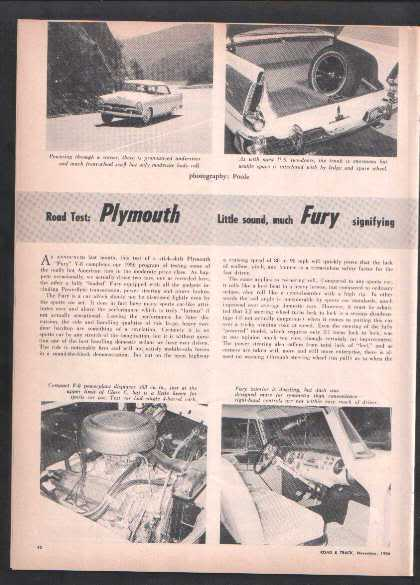 1956-1957 FURY ROAD TEST AD