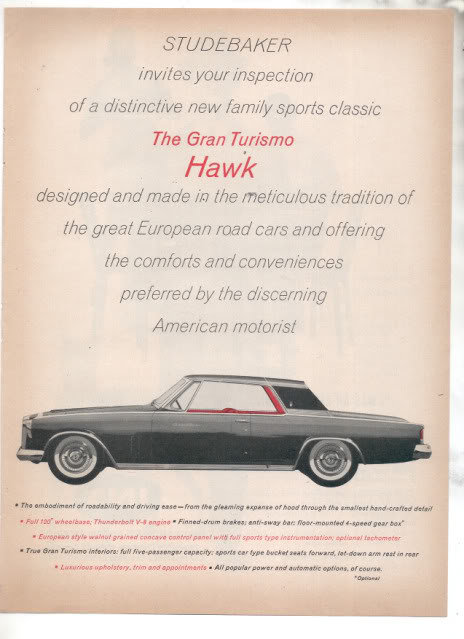 1962 STUDEBAKER HAWK AD