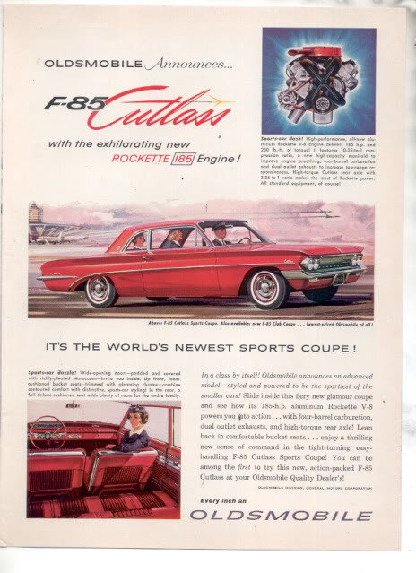 1961 OLDS CUTLASS F-85 AD
