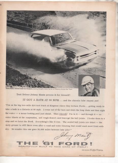 1961 FORD THUNDERBIRD-JOHNNY MANTZ AD