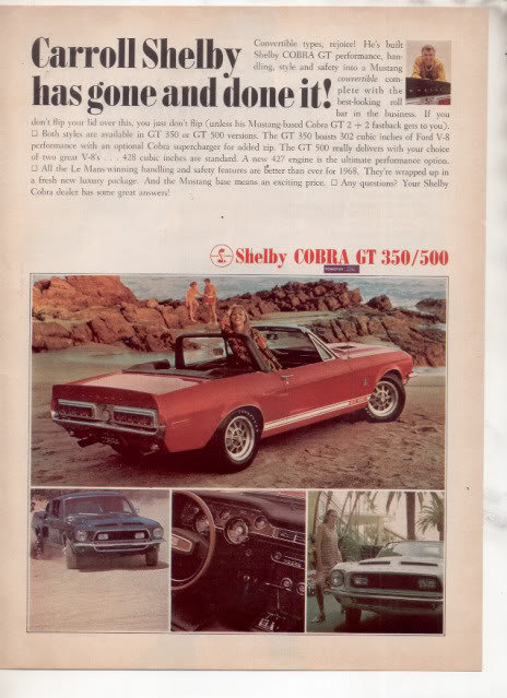 1967 1968 SHELBY GT 350 500 AD