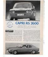 1971 1972 CAPRI RS 2600 VINTAGE ROAD TEST AD 3-PAGE - $8.99