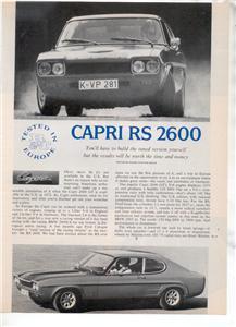 1971 1972 CAPRI RS 2600 VINTAGE ROAD TEST AD 3-PAGE