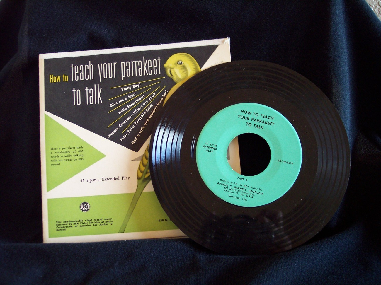 1951 HOW TO TEACH YOUR PARRAKEET TO TALK 45 RPM RCA