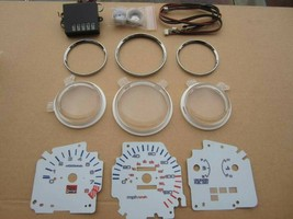 92-95 Honda Civic EX LX Manual 7 Color White Face LED Glow Gauges For Cl... - $48.50