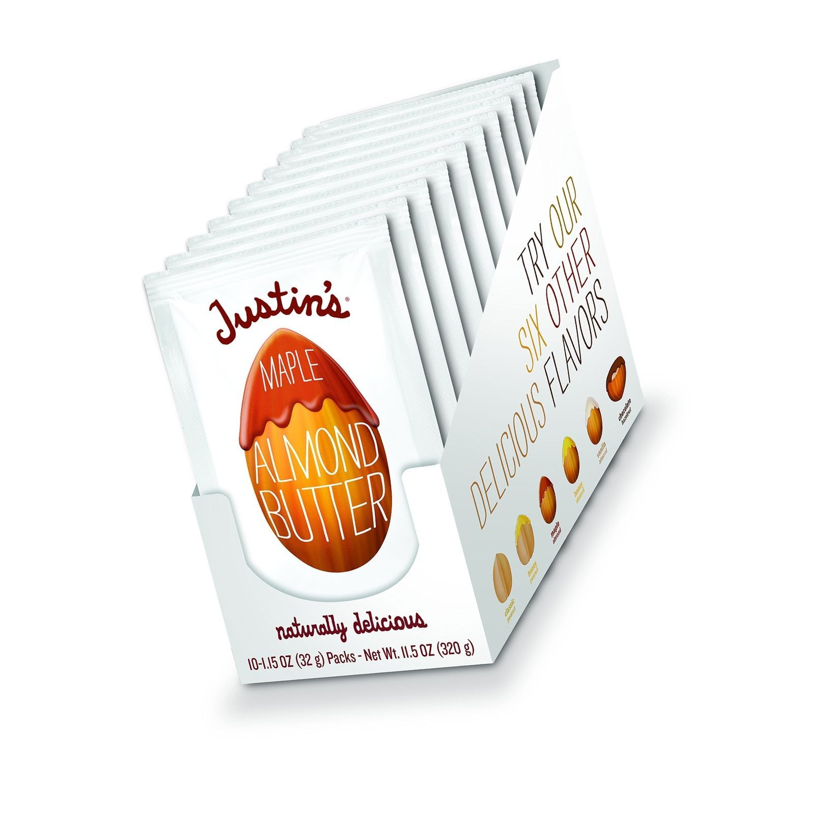 Maple Almond Butter Squeeze Packs by Justin's, Gluten-free, Non-GMO, Responsi...