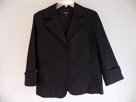 Women's Blazer Talbot's Black Sz 12 Cotton Blend Button Down Full Length Jacket - $23.75