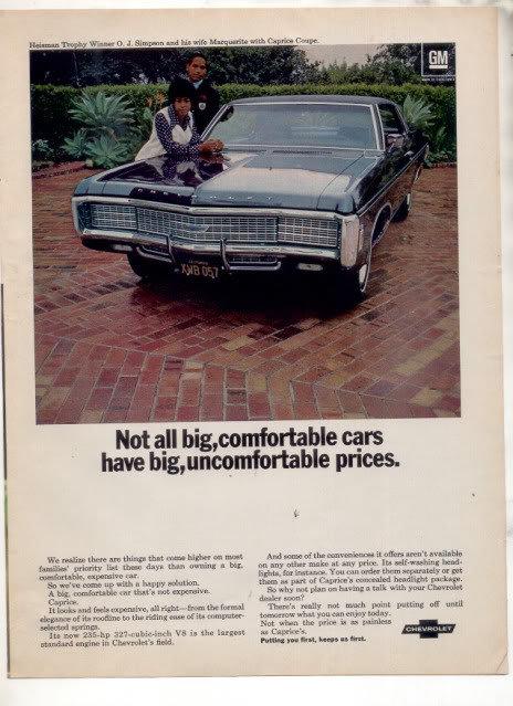 1970 CHEVY CAPRICE OJ SIMPSON NARQUERITE CAR AD
