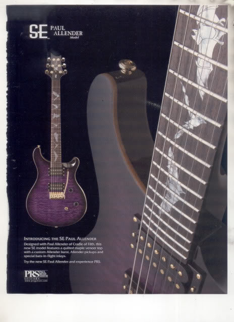 * PAUL ALLENDER MODEL PRS PAUL REED SMITH GUITAR AD