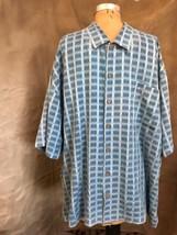 Men's 100% SILK Camp Shirt CABANA Tommy Bahama Blue Windowpane Summer XXL 2XL - $120.86