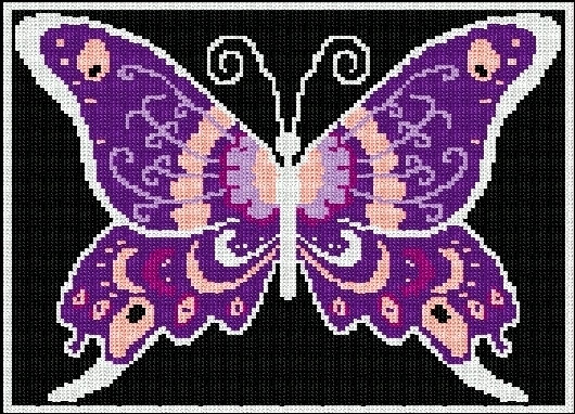 Latch Hook Rug Pattern Chart: LARGE BUTTERFLY - EMAIL2u