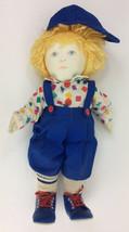 "18"" Handmade Painted Face Boy Doll Overall Cap Blue Eyes Blonde Hair Cloth - $37.12"