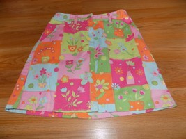 Size 12 Talbot Kids Spring Summer Skirt Floral Square Patch Print Green ... - $15.00