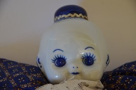 Porcelain Kewpie Doll Vintage Blue and White Delft Ware Cloth body Rare ... - $32.66