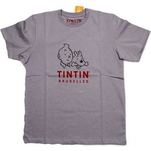 Tintin and Snowy Bruxelles  T-shirt GREY Official Tintin product