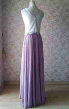 Rustic Wedding Lavender Maxi Chiffon Skirt Lace Top 2-Piece Bridesmaid Dresses image 4