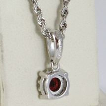 18K WHITE GOLD NECKLACE ROPE CHAIN & FLOWER PENDANT, RED ZIRCONIA ROUND CUT image 3
