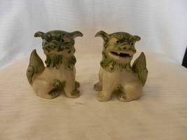 """Pair of Ceramic Oriental Foo Dogs Figurines Green and Beige 4.25"""" Tall - $44.54"""