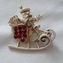 Vintage Dodds Christmas Brooch Pin Santa in Sleigh Red Rhinestones Enameled - $16.99