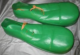 ADULT CLOWN SHOES GREEN PLASTIC  - $20.00