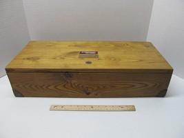 Large Long Vintage Wood Tool Ammo Storage Box Brass Corners Handle Indents - $179.95