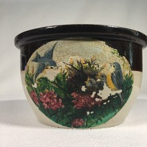 """Stoneware Bowl Handpainted Little Bluebirds Vintage 2lbs 7oz And 7.75"""" x... - $24.99"""