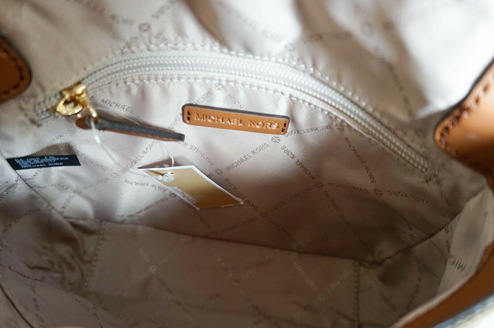 Michael Kors Bedford Small Flap Crossbody Jacquard Leaher Bag MK Beige Brown image 8