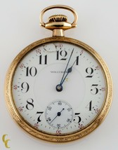 Waltham Open Face 14k Yellow Gold Filled Pocket Watch 23 Jewels Size 16 ... - $1,767.17