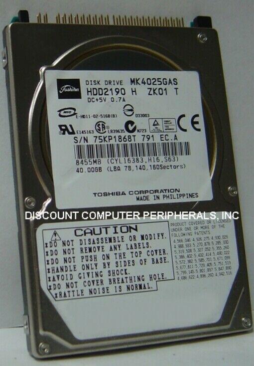"NEW MK4025GAS Toshiba HDD2190 40GB 2.5"" 9.5MM IDE 44PIN Hard Drive Tested Good"