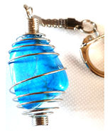 Turquoise caged Keyring, key chain,silver chain unusual,rare - $10.00
