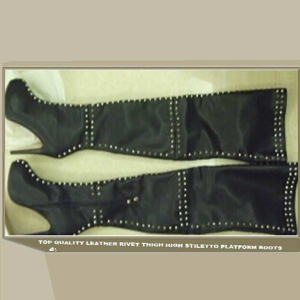 Italian Thigh High Soft Leather Panel Rivets Spike Stiletto Heel Platform Boots
