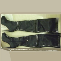 Italian Thigh High Soft Leather Panel Rivets Spike Stiletto Heel Platform Boots image 4