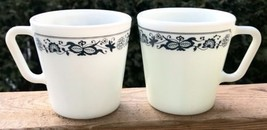 Pyrex Mugs Blue Onion Old Town Set Of 2 Coffee Cup Milk Glass 50s Vintage - $44.77
