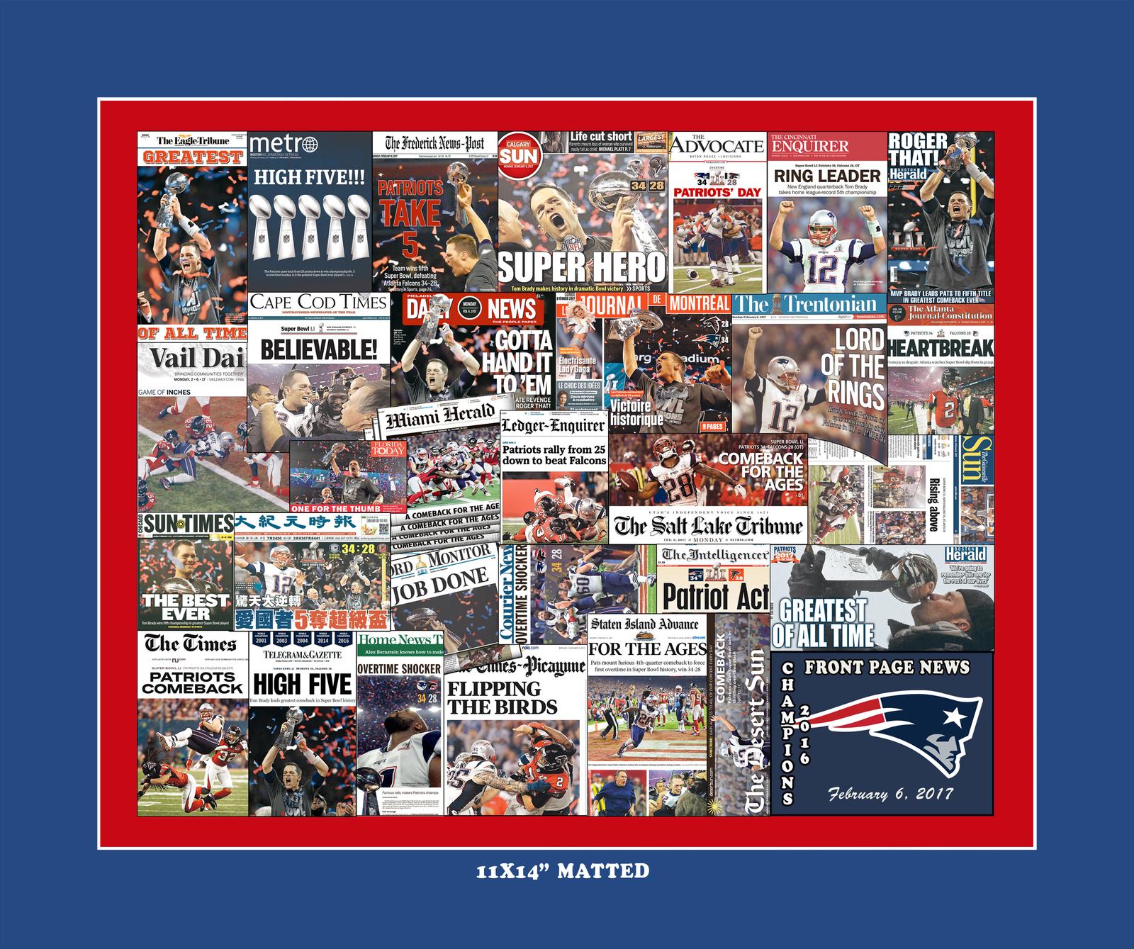 New England Patriots 2017 Super Bowl Newspaper Headline Collage Print.