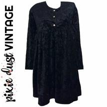 Black Velvet Dress 90s Vintage Crushed Diamonds Empire Waist Sleeves Siz... - $43.74