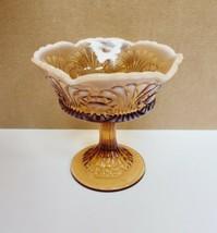Vintage Fenton Amber Eye & Scroll Opalescent Vaseline Glass Pedestal Can... - $14.24