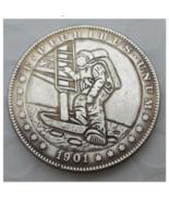 US Hobo 1901 Morgan Dollar Astronauts Creative Nickel Coin Pressed Coin - $15.00