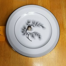 TWO (2) Kent China Silver Pine Bread Plates Brown Pinecone Gray Needles ... - $4.90
