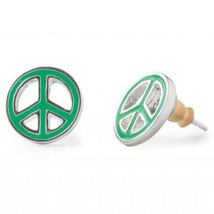 Stella & Dot Peace Sign Earrings Silver Studs Green Enamel - $7.00