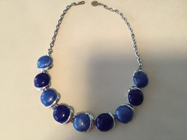 Vintage Two Toned Blue Thermo Set Lucite Silver Tone Choker Necklace  - $10.84
