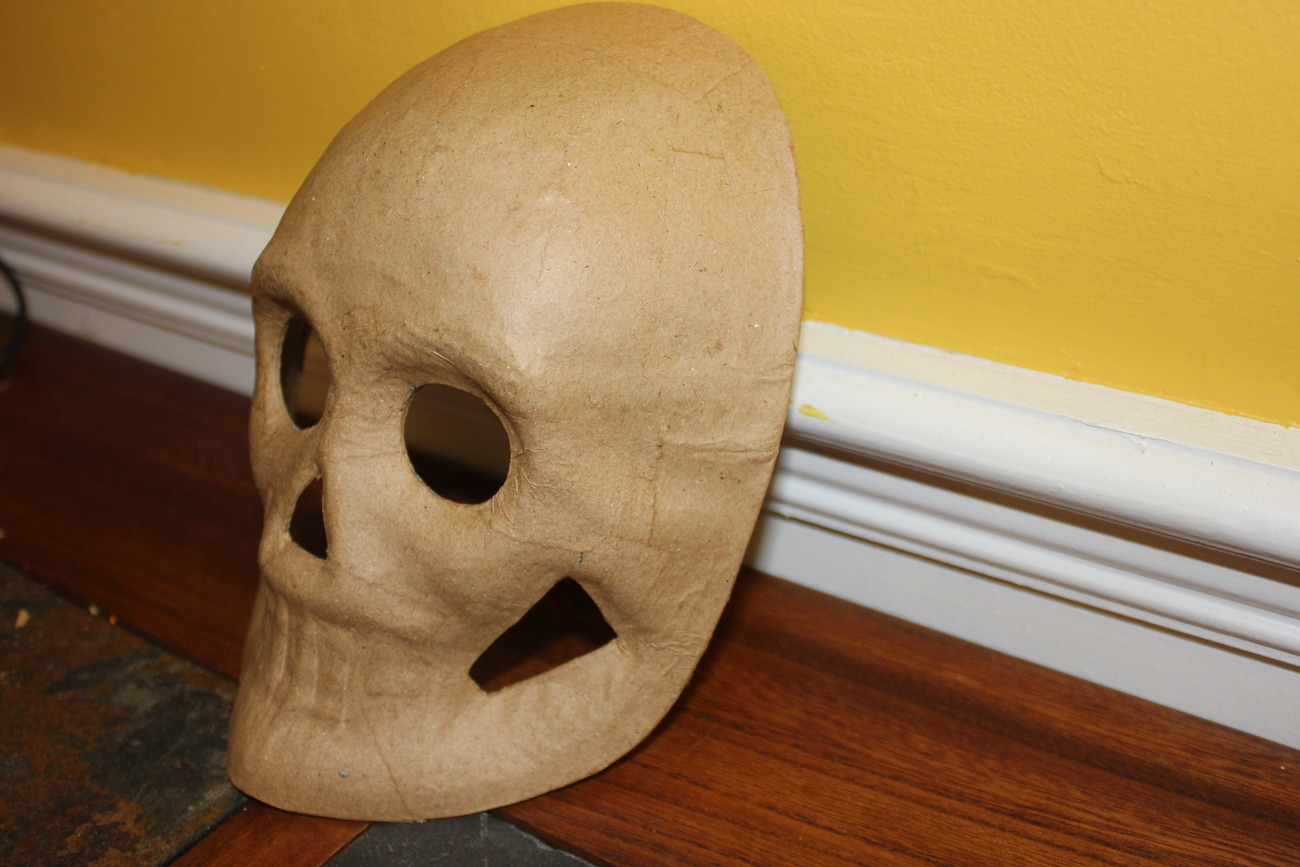 Paper mache skull face skeleton mask new unpainted diy for Craft masks to decorate