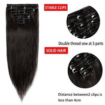 """24"""" Remy Clip in on Hair Extensions Remy Human Hair Standard Weft 80g 8 Pcs 18 C image 3"""