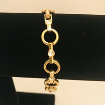 "Avon Sparkling Goldtone Circle Link 7"" -8"" Adjustable Tennis Bracelet J0727 image 2"
