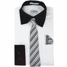 Berlioni Italy Boys Two Toned Kids White Dress Shirt With Tie & Hanky Set