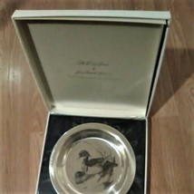 """THE  NATIONAL AUDUBON SOCIETY  STERLING SILVER PLATE """"THE WOOD DUCK"""" 1973 - $148.50"""