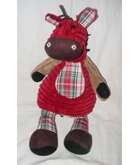 Jellycat Corduroy Horse Pony Plush Stuffed Animal Red Green Plaid Brown Tan - $11.31