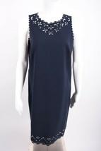 J.Crew Women's Dress Sz 10 Navy Blue Laser Cut Out Scalloped Sleeveless ... - $34.65