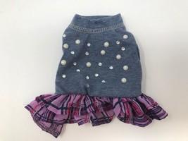 Bret Michaels Pets Rock Dog Dress Blue Crystals Pearls Purple Plaid Ruff... - $7.92