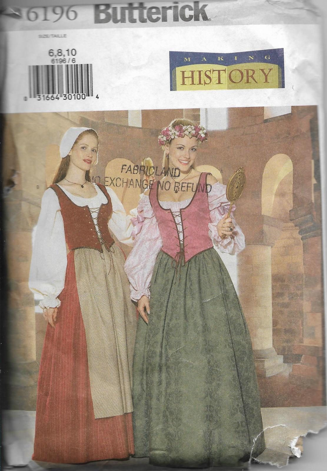 Butterick 6196 History Period Costume Maiden Dress Size 6 8 10 Ladies F/F Uncut