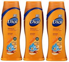 3x Dial MIRACLE OIL Beautifully Soft Skin RESTORING Body Wash MARULA OIL... - $29.99